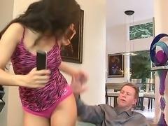 Horny little brunette stepdaughter slut parades