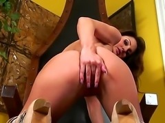 Evelin Rain lays her back on chair and tries to relax. Her fine breasts looks...
