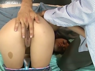 Gorgeous and arousing dark haired babe Binky Bangs with nice natural tits and shaved taco gets her twat as well as her tight ass hole fingered on the bed and enjoys in sex