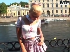 Naughty blonde schoolgirl Ivanka is her super sexy uniform tries to seduce me
