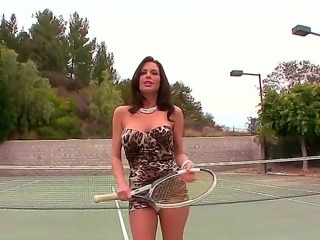 Horny milf Veronica Avluv gets seduced while playing tennis by horny male with big cock