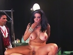 Erik Everhard, John Strong and Toni Ribas fucking hard a busty brunette Shay...