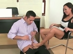 Beautiful secretary in awesome tight skirt Rio Lee is nicely drilled by the...