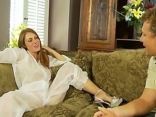 Blond housemaid got her pussy licked by her employer on the sofa after work