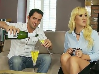The attractive guy licks so hot and with a pleasure Alana Evanss shaved and sweet pussy