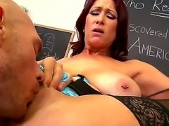 Sexy teacher Tiffany Mynx enjoys having her cunt ravaged by hunk student...