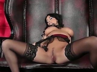 Anissa Kate Milf brunette chick nastily spitting on her boobies and rubbing it on nipples and then masturbates her pussy