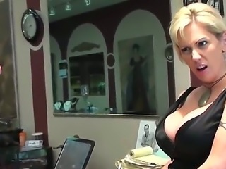 Stunning blonde salesgirl with big white boobs is so seductive that her horny...