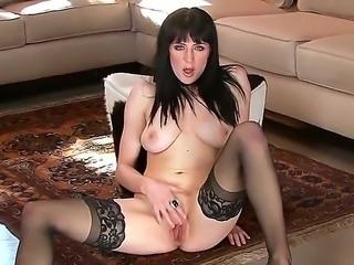 The sympathetic creamy skinned pornstar Samantha Bentley in a black stockings masturbates