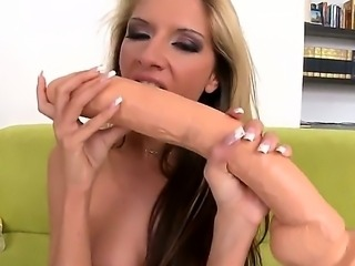 Hi boys and girls! Today we bring you super wild and horny dick-addicted babe, named Bambi. We presented her two ultra-huge dildos and she enjoys it very much.