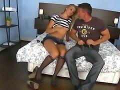 Attractive blonde slut Charry gets her shaved minge fingered and gives head...