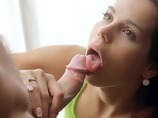 The sensate brunette Livia makes a blowjob to her lover then he licks her ass and fucks her pussy