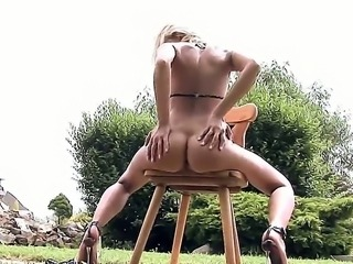 Nobody can outdo nasty bitch Clara Hamilton in pussy-stroking competition