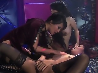 Sexy Asian babes Lana Croft and Gianna Lynn gather with their sexy girlfriend for raunchy lesbian sex