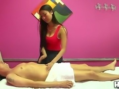 Sexy Asian masseur Sharon Lee gives a good massage to hot Scott behind the...