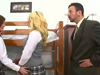 Voodoo is young teacher and he wants to achieve the ideal discipline in the classroom! Four naughty girls Faye Reagan, Lily Carter, Lizz Tayler and Teagan Summers were caught licking pussies in the WC and they need to be punished.