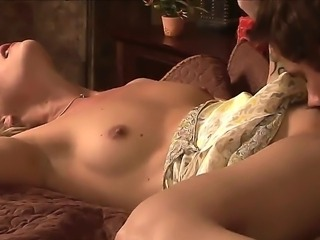 Tender blonde babe with firm small