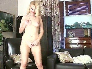 Blonde Katie Kay enjoys a classic solo masturbating session by feeling her...