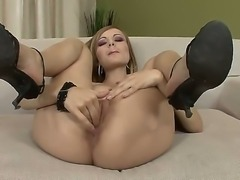 Remarkable and astonishing babe Bianca Golden plunges her playful fingers in...