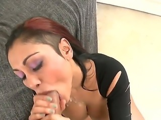 Big boobed cock sucker slut Priya Rai sucking huge cock in sexy tight black dress she is sitting on couch and pushing her head hard on big cock to get some cumshot!