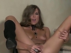 Atfer work Adrienne Manning prefers to jill her shaved sissy using various...