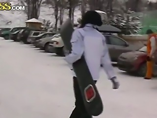 Amateur girl, Nika, likes extreme and tries snowboarding with her lovely...