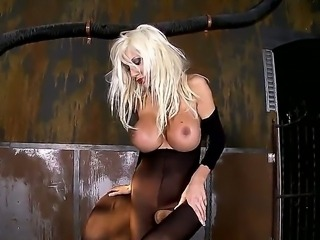 Horny and hot blonde pornstar Puma Swede in her kinky leather outfit enjoys...
