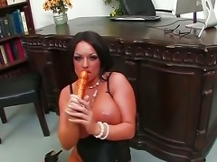 Busty Kerry Louise gets so dirty while pounding her tight holes with her huge...