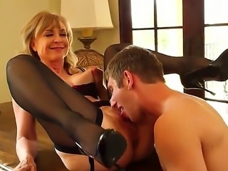 Danny Wylde dancing in the sheets with beautiful steamy blonde Nina Hartley in nice lingerie