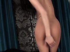 Skinny brunette girl Kimmy Haze with