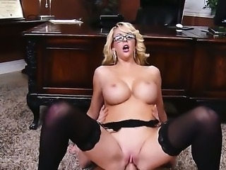 Sweet secretary Courtney Taylor starts this working day with her boss Johnny...