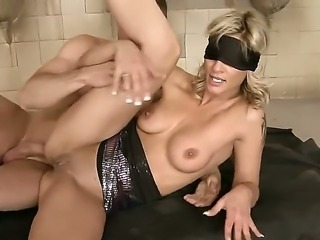 Blindfolded Klarisa Leone gets her tight anal thrashed by two wild studs at...