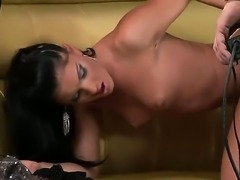 Honey Demon is shoveling a hard dildo deeply into Jasmine Rouges chaste fuck hole