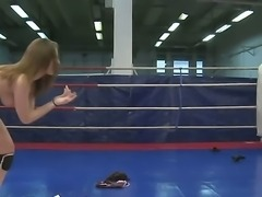 Naughty chicks Lexy Little and Nicole Sweet fighting on the ring for a...