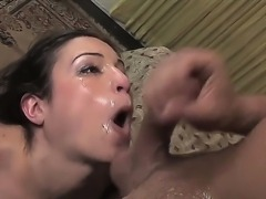 Submissive slim cum swallowing brunette Amber