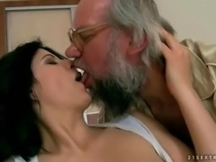 Naughty brunette fucking a grandpa