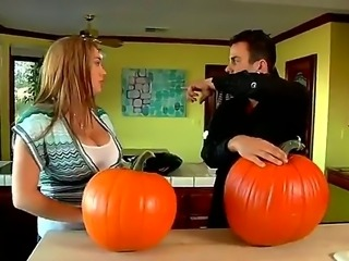 Cassandra Calogera just bought a big pumpkin for Halloween and with her friend and big boobs she is ready to carve up some faces in this vegetable pr maybe something naughty and sexy.