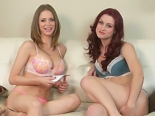Emily Addison speaks frankly with her friend about things they like in sexual relationship. And while they doing this, they take their clothes off slowly, but firmly.
