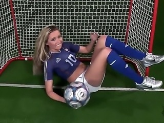 Hot and naughty blonde Cherry Jul loves football and she is ready to show...