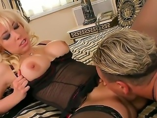 Busty blonde Karlie Simon gets deep penetrated by horny male with massive dick