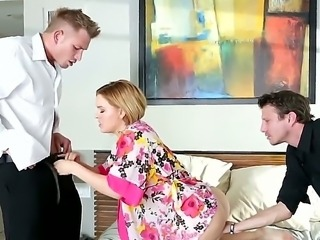Krissy Lynn was dreaming about threesome action. Her husband Bill Bailey knows that she always realizes her dreams, but he doesnt want her to be fucked by someone strange, so he called his best friend Mr. Pete!