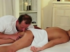 Babe gets rimjob and creampie by masseur