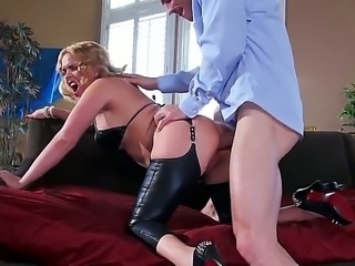 Fatty and naughty Krissy Lynn called her new boss Johnny Sins to demonstrate him her passion