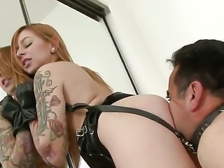 Lucky guy with skillful tongue is doing an awesome job while his beautiful tattooed girlfriend Scarlett Pain is sitting on his face and is being nicely licked by him.