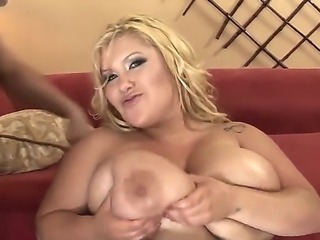Fatty and busty bitch Kacey Parker rubs her boobs and gets a dick in her fat and hot pussy
