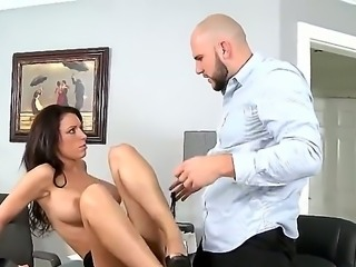Nice brunette office whore J Love getting fucked by her boss Jmac