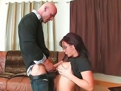 Hot girl in glasses Jayden Jaymes is doing the best blowjob in this lucky...