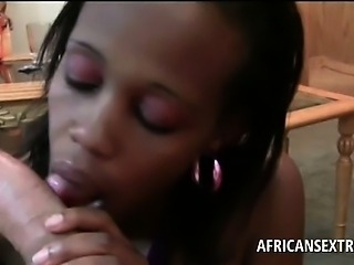 POV petite african babe sucking white monster pecker