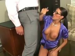 Passionate spectacled milf with great boobs
