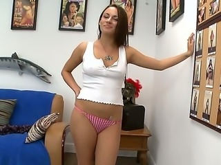 Delicious girl Nova Brooks gets naked on camera. She doesnt have a dildo, but...